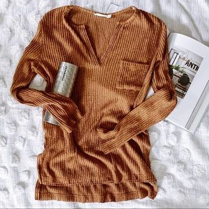 Lush Long Sleeve Sweater Mustard Brown Size Small